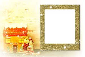 Photo frame Christmas greeting card