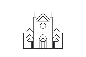 church sign vector line icon, sign, illustration on background, editable strokes