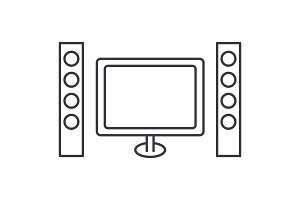 cinema, home theater vector line icon, sign, illustration on background, editable strokes