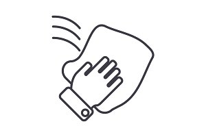 cleaning hand, wash cloth vector line icon, sign, illustration on background, editable strokes