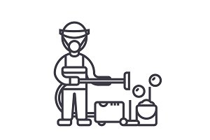 cleaning service,houskeeping man,cleaner with vacuum cleaner vector line icon, sign, illustration on background, editable strokes