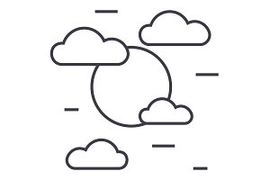 cloudy day vector line icon, sign, illustration on background, editable strokes