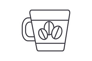 coffee cup with beans vector line icon, sign, illustration on background, editable strokes
