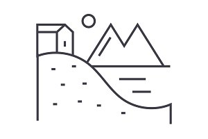 house on hills with lake and mountains vector line icon, sign, illustration on background, editable strokes