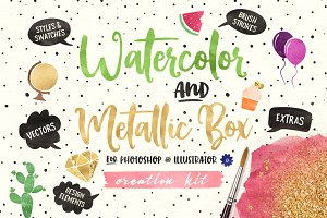 (PS+AI) Watercolor & Metallic Box