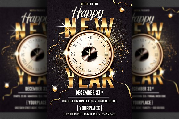 New Year Invitation Flyer Template-Graphicriver中文最全的素材分享平台