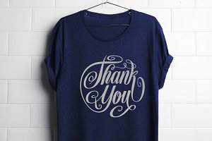 Thank You Lettering Circle Shape SVG