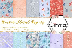 Winter Floral Digital Papers