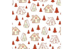 Vector red gingerbread houses and Christmas trees seamless pattern background. Perfect for winter holiday fabric, giftwrap, scrapbooking, greeting cards design projects.