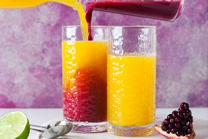 pouring orange juice and grenadine i