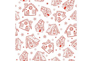 Vector red gingerbread houses seamless pattern background. Perfect for winter holiday fabric, giftwrap, scrapbooking, greeting cards design projects.