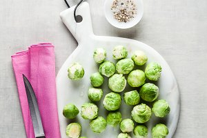 Brussels sprout on a white marble cu