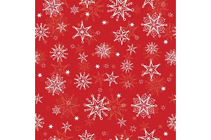 Vector holiday red hand drawn christmass snowflakes repeat seamless pattern background. Can be used for fabric, wallpaper, stationery, packaging.