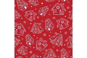 Vector red gingerbread houses Christmas seamless pattern background. Perfect for winter holiday fabric, giftwrap, scrapbooking, greeting cards design projects.
