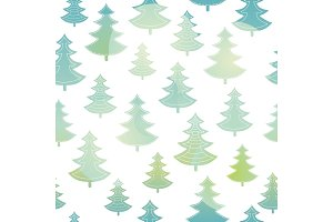 Vector green and blue christmas trees forest holiday seamless pattern. Great for winter holiday fabric, wallpaper, packaging, giftwrap.