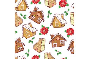 Vector brown gingerbread houses and poinsettia flowers Christmas seamless pattern background. Perfect for winter holiday fabric, giftwrap, scrapbooking, greeting cards design projects.