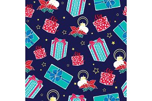 Vector dark blue Christmas gifts boxes and candles seamless repeat pattern background. Can be used for holiday giftwrap, fabric, wallpaper, stationery, packaging.