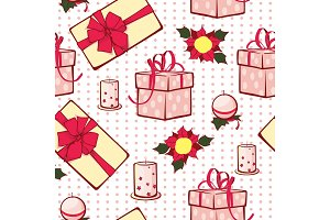 Vector Christmas gifts boxes and candles seamless repeat pattern background. Can be used for holiday giftwrap, fabric, wallpaper, stationery, packaging.