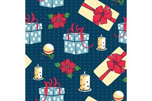 Vector blue Christmas gifts boxes and candles seamless repeat pattern background. Can be used for holiday giftwrap, fabric, wallpaper, stationery, packaging.