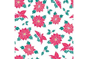 Vector red on white poinsettia flower and holly berry holiday seamless pattern background. Great for winter themed packaging, giftwrap, gifts projects.