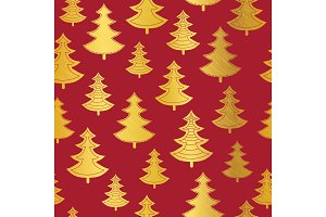 Vecrtor golden and red Christmas trees seamless repeat pattern background. Great for winter holiday fabric, packaging, giftwrap, covers, greeting cards.