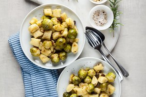 two plates with Italian gnocchi from