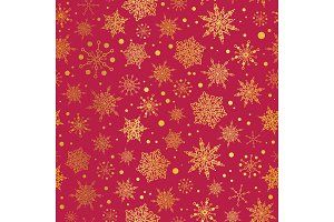 Vector golden and red snowflakes seamless repeat pattern background. Great for winter holiday fabric, giftwrap, packaging, covers, invitations.