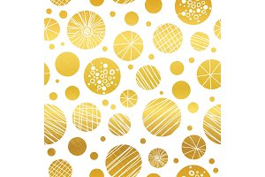 Vector abstract golden yellow hand drawn christmass ornaments repeat seamless pattern background. Can be used for fabric, wallpaper, stationery, packaging.