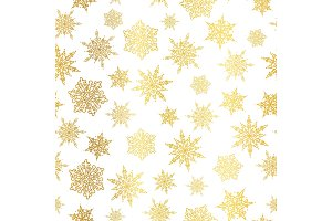 Vector golden snowflakes seamless repeat pattern background. Great for winter holiday fabric, giftwrap, packaging, covers, invitations.
