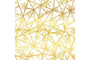 Vector golden snowflakes triangles seamless repeat pattern background. Great for winter holiday fabric, giftwrap, packaging, covers, invitations.