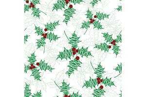 Vector holly berry green, red textured holiday seamless pattern background. Great for winter themed packaging, giftwrap, gifts projects.
