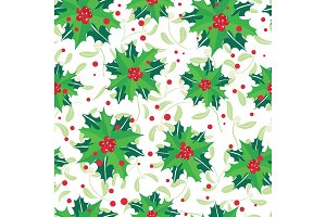 Vector red, green, holly berry bunches and mistletoe holiday seamless pattern background. Great for winter themed packaging, giftwrap, gifts projects.