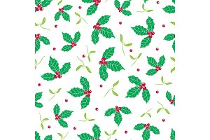Vector green, red holly berry and mistletoe holiday seamless pattern background. Great for winter themed packaging, giftwrap, gifts projects.