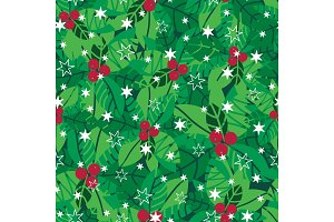 Vector green, red, white holly berries and snowflakes holiday seamless pattern background. Great for winter themed packaging, giftwrap, gifts projects.