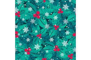 Vector blue, red, white holly berries and snowflakes holiday seamless pattern background. Great for winter themed packaging, giftwrap, gifts projects.