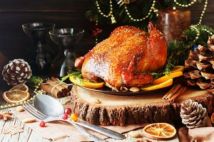 Baked turkey for Christmas or New Year space for text