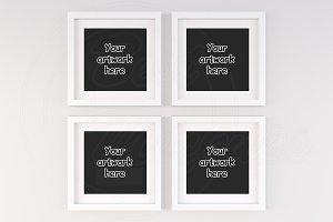Set of 4 white square frame mockups