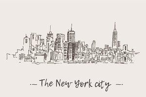 Set of New York city skylines