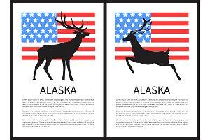 Alaska Deer and Text Sample on Vector Illustration