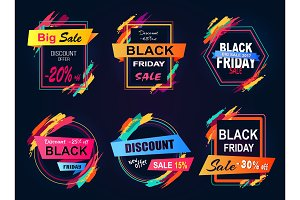 Big Sale Black Friday Stickers Vector Illustration