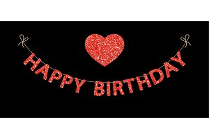 Cute festive glitter Happy Birthday letters bunting for your decoration