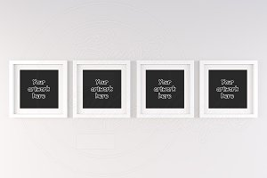 Set of 4 square matted frame mock up