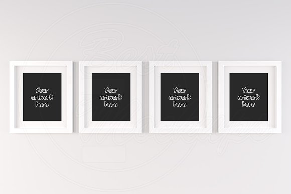 Top 4 White Wall Frames Mockup 8x10 Product Mockups Creative Market