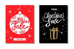 Shop Now Big Christmas Sale Vector Illustration