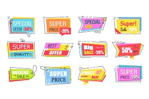 Super Low Price Bright Promotional Logotypes Set