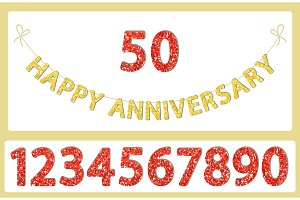 Cute festive glitter Happy Anniversary letters and numbers bunting for your decoration