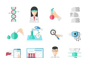 Biotechnology Flat Icons Set