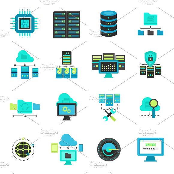 Datacenter Flat Icons Set