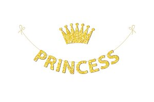 Cute bunting as festive glitter letters and crown for your decoration