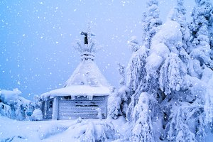 Finland Christmas snowing cabin backdrop